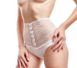 Woman in white lace panties