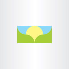 landscape vector banner background sun and mountain