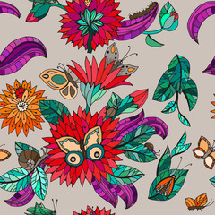 Seamless floral pattern with butterflies, bugs, leaves and flowers. Vector color illustration.