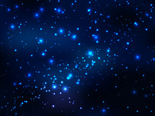 Star in outer space, night magic sky. Vector universe background. Astronomy or mystery wallpaper with nebula galaxy