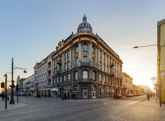 Obraz Architektura ulicy Piotrkowskiej w Łodzi - fototapety do salonu