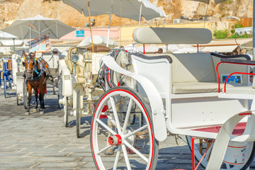 Horse carriage in the port of Chania, Crete