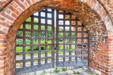 old wooden lattice on the gates