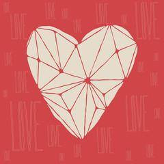 Polygonal love heart background. Vector illustration.