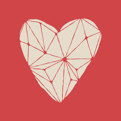 Polygonal white heart on the red background. Low poly heart shape.