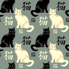 """Black cat with japanese characters meaning """"cat"""" on a background"""