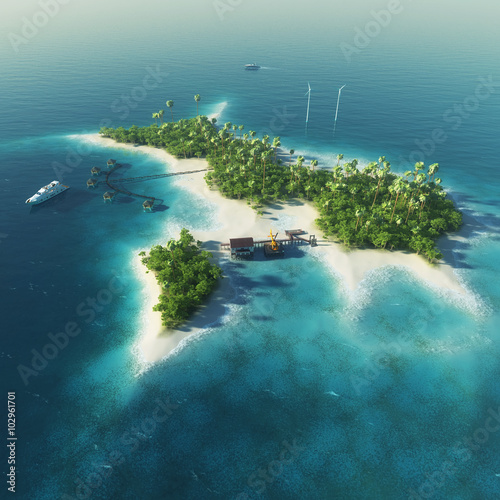 """Tropical Island Paradise: """"Private Island. Paradise Tropical Island With Wind"""