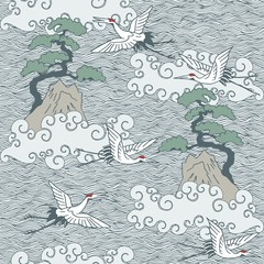 Japanese art inspired seamless pattern of flying cranes over water