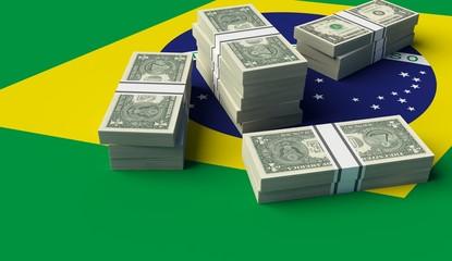 Stack of money on a Brazil Flag. 3D illustration