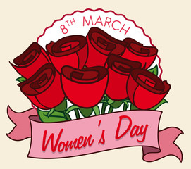 Bouquet of Roses for all the Ladies in Women's Day, Vector Illustration