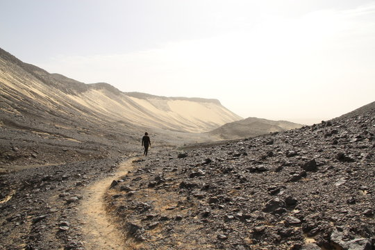Exploring volcanic rock, Egypt