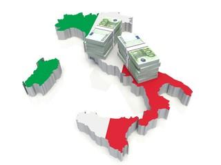 Stack of money on Italian Map. 3D illustration
