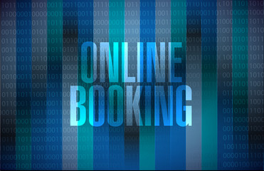 online booking binary background sign concept
