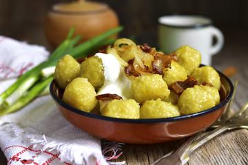 Potato dumplings - traditional dish of belorussian and polish cu