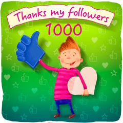 thanks to my 1000 followers image for social networking