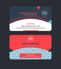 Vector modern clean business card template. Flat design.