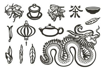 Chinese collection. The Dragon, teapot, lantern, tea leaves, piala, gaiwan, hieroglyph.