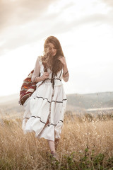Bohemian woman in the field