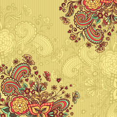 Vintage background with doodle flowers on beige