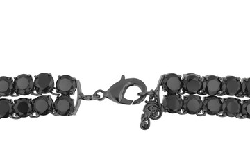 Chic Double-Row Charcoal Black Diamond Necklace in Gun Metal with Huge Diamonds (clasp)