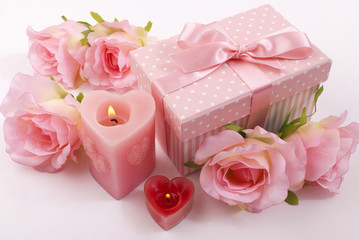 Box,candles and roses