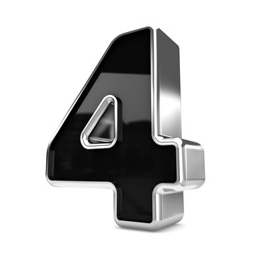 3d silver and black metal number 4 four isolated white backgroun