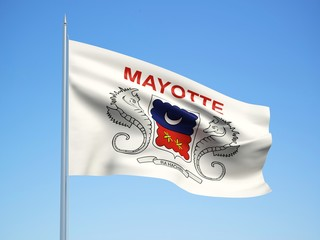 Mayotte 3d flag floating in the wind with a blue sky background