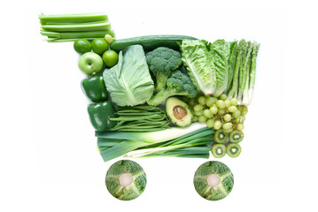 Green grocery shopping cart icon