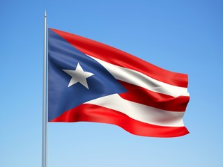 Puerto Rico 3d flag floating in the wind with a blue sky background
