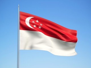 Singapore 3d flag floating in the wind with a blue sky background