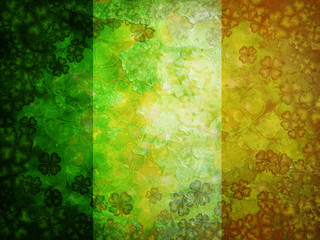 Shamrock Four Leaf Clover Grunge Flag Background