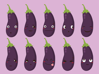 Vegetable Vector - Eggplant with Different Expressions