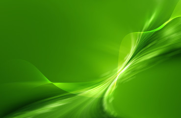 Green abstract background with mesh and curled shape and sparkle effect