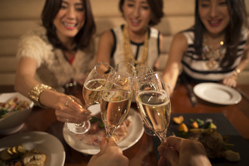 Five women have been toast with champagne