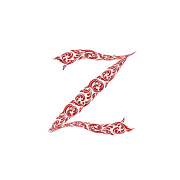 Abstract vector alphabet - z made from line thai art pattern - a