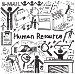 Human resource management in organization handwriting doodle icon sketch sign and symbol in white isolated background paper used for business education presentation title with header text (vector)
