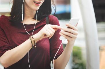 Woman Listening Music Media Entertainment Walking Concept