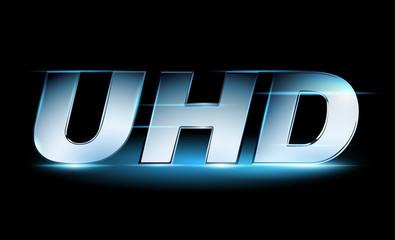 Silver UHD icon, ultra high definition logo