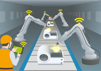 manufacturing line of a automotive factory and welding robots, wireless communication,  factory automation image, vector illustration