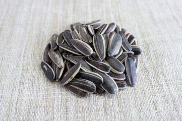 Sunflower seeds on canvas