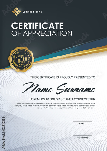 certificate template with Luxury and modern pattern,.Qualification ...