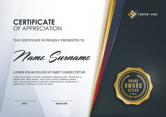 certificate template with Luxury and modern pattern,.Qualification certificate blank template with elegant,Vector illustration