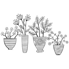 Beautiful monochrome Flowers In Pots. Vector Illustration.