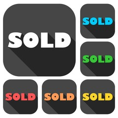 Sold icons set with long shadow