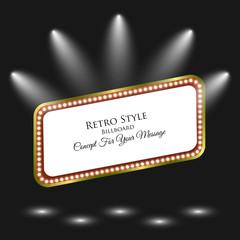 Retro Billboard. Light Frame. Background with Spotlight. Retro Banner. Concept For Your Message. Vector Illustration