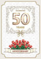 50 anniversary.Greeting card with flowers