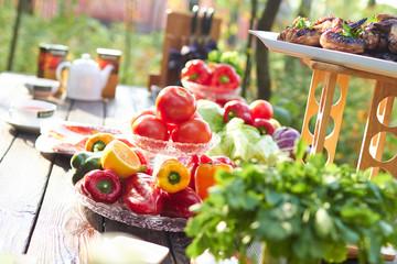 Autocollant pour porte Pique-nique picnic summer vegetables