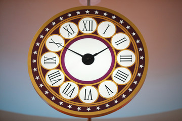 A clock with Roman numerals.