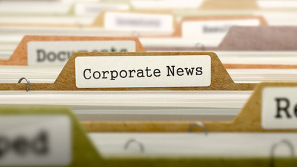 Corporate News Concept on Folder Register in Multicolor Card Index. Closeup View. Selective Focus. 3D Render.