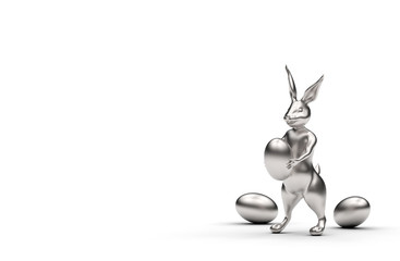 Obraz Srebrny królik na białym tle - fototapety do salonu